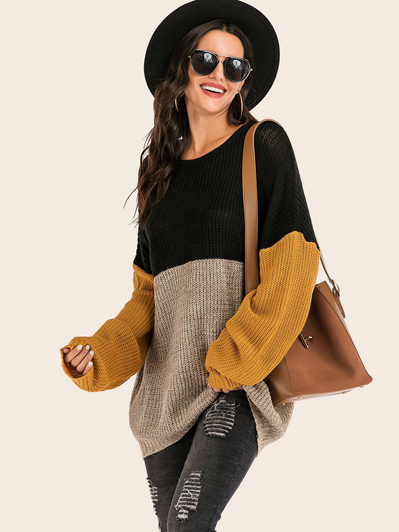 Color-block Drop Shoulder Ribbed Knit Sweater thumbnail