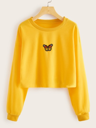 Butterfly Patched Drop Shoulder Sweatshirt