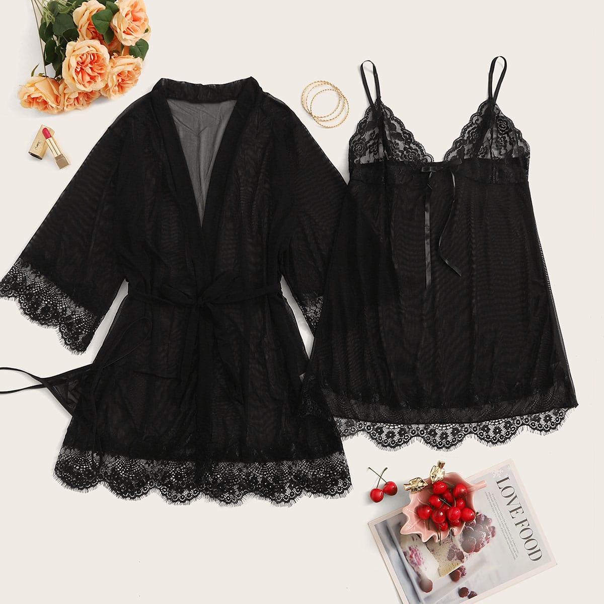 Сетчатый халат, пижама и стринги размера плюс 3шт
