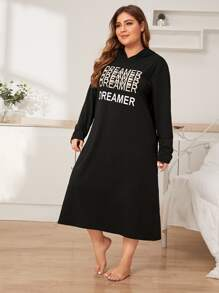 Plus Letter Graphic Hooded Night Dress
