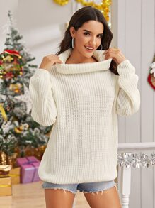 Cowl Neck Ribbed Knit Oversized Jumper