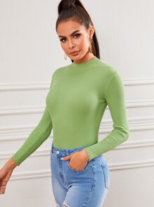 Solid Ribbed Knit Mock Neck Sweater
