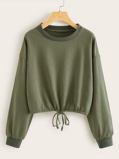 Solid Drawstring Hem Round Neck Sweatshirt
