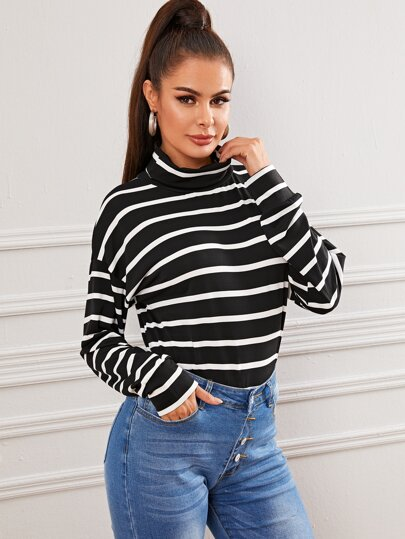 Black And White Striped High Neck Tee