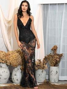 LOVE&LEMONADE Sheer Deep V Neck Glitter Mesh Prom Dress Without Panty