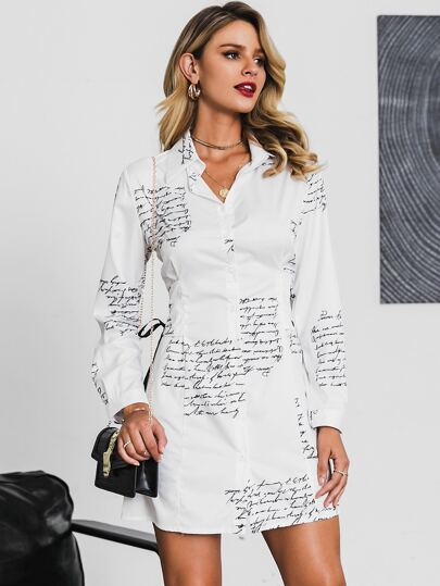 Glamaker Letter Print Button Front Shirt Dress
