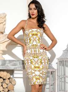LOVE&LEMONADE Scroll Print Halter Backless Criss Cross Dress