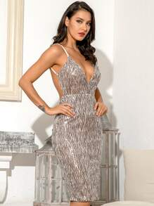 LOVE&LEMONADE Deep V Neck Backless Sequin Dress