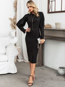 Glamaker Backless Gigot Sleeve Split Hem Dress