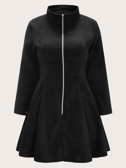 Plus Zip Up Ruffle Hem Coat
