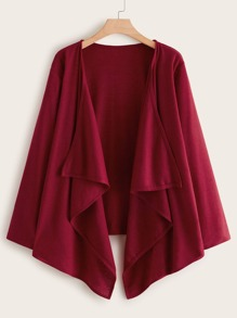 Plus Waterfall Collar Open Front Cardigan