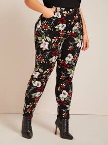 Plus Allover Floral Print Skinny Pants