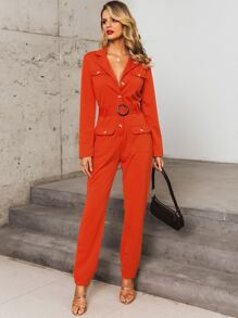 Glamaker Button Front Pocket Buckle Belted Jumpsuit