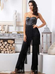 LOVE&LEMONADE Colorblock Tiered Layer Fringe Tube Jumpsuit