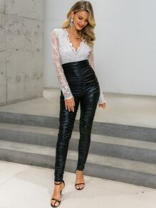 Glamaker High Waist Ruched Skinny Coated Pants