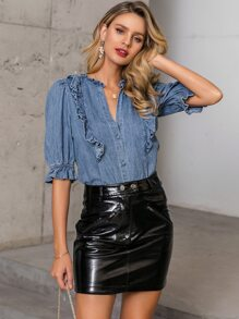Glamaker Frill Trim Bell Sleeve Denim Blouse