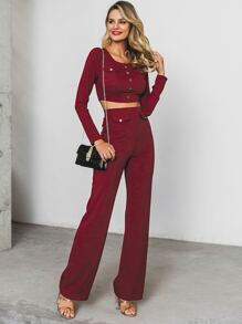 Glamaker Rib-Knit Button Detail Crop Top & Straight Leg Pants Set