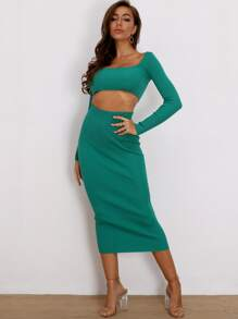 Joyfunear Rib-Knit Crop Top & Bodycon Skirt Set