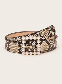 Snakeskin Pattern Faux Pearl Buckle Belt