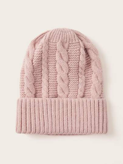 Solid Color Cable Knit Beanie