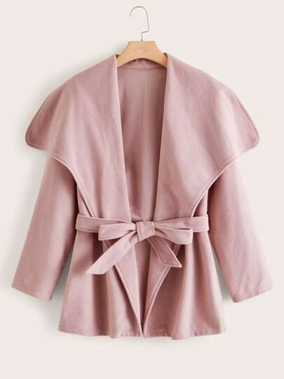 Plus Solid Self Tie Waterfall Coat