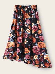 Allover Floral Print Flared Skirt