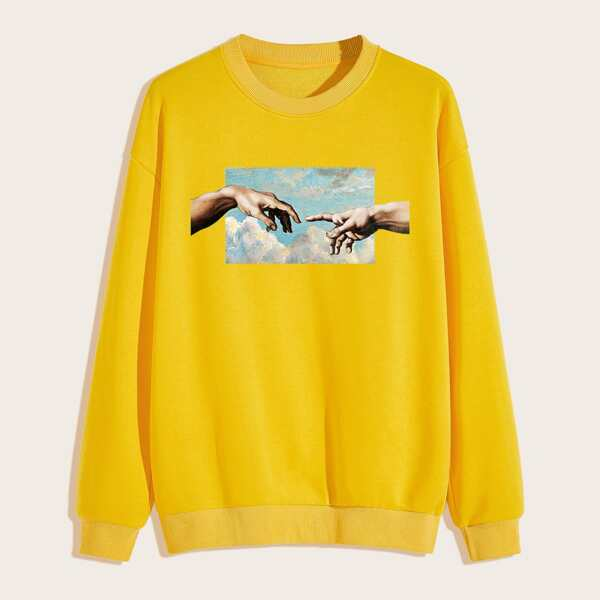 Men Drop Shoulder Graphic Print Sweatshirt, Yellow bright