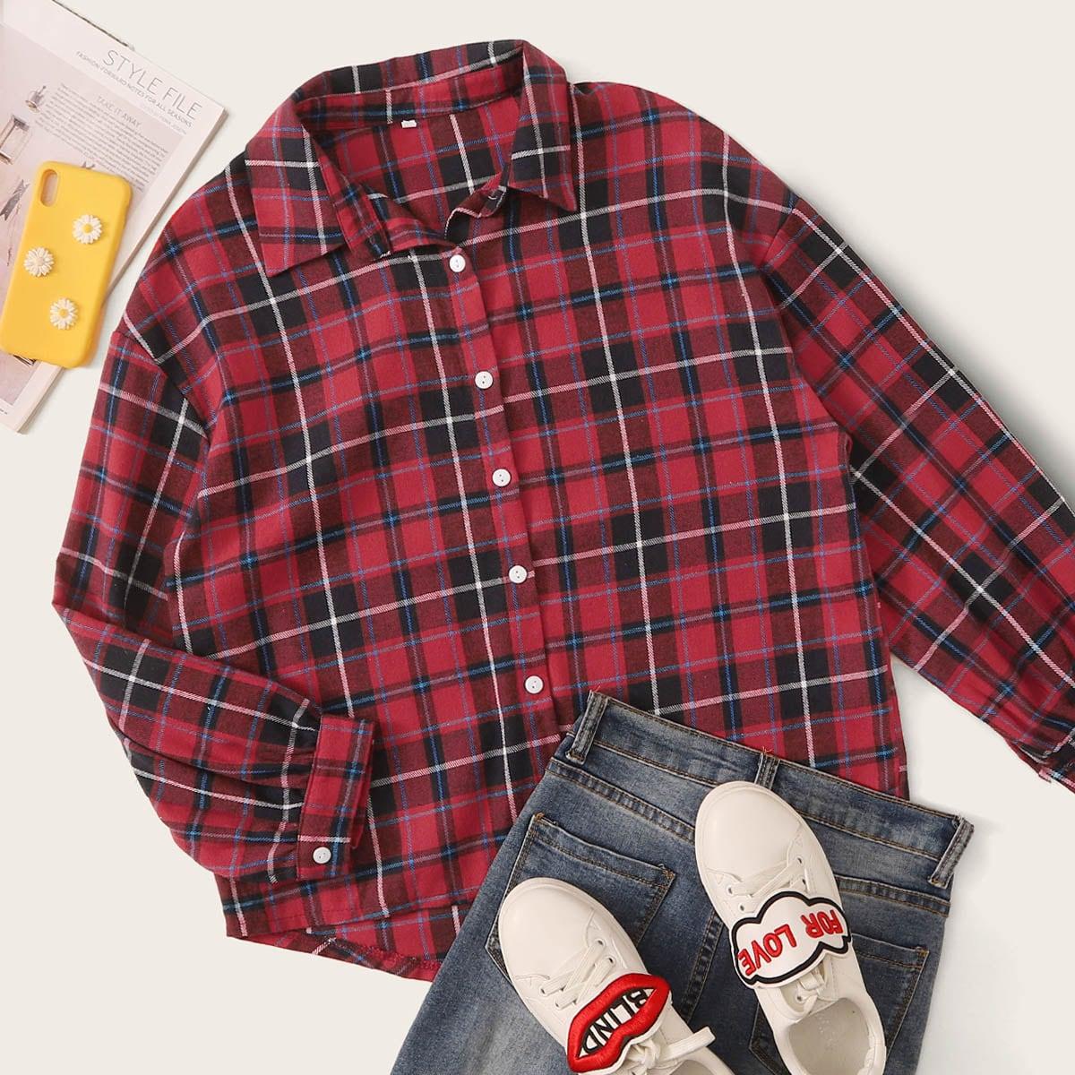 Красный Однобортный Клетчатый Институтский Блузы рубашки