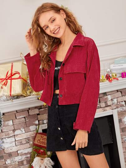 Red Corduroy Crop New Year Utility Jacket