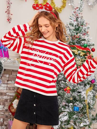 Striped Letter Graphic New Year Sweatshirt