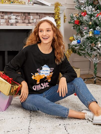 Letter & Cartoon Graphic Crew Neck New Year Sweatshirt
