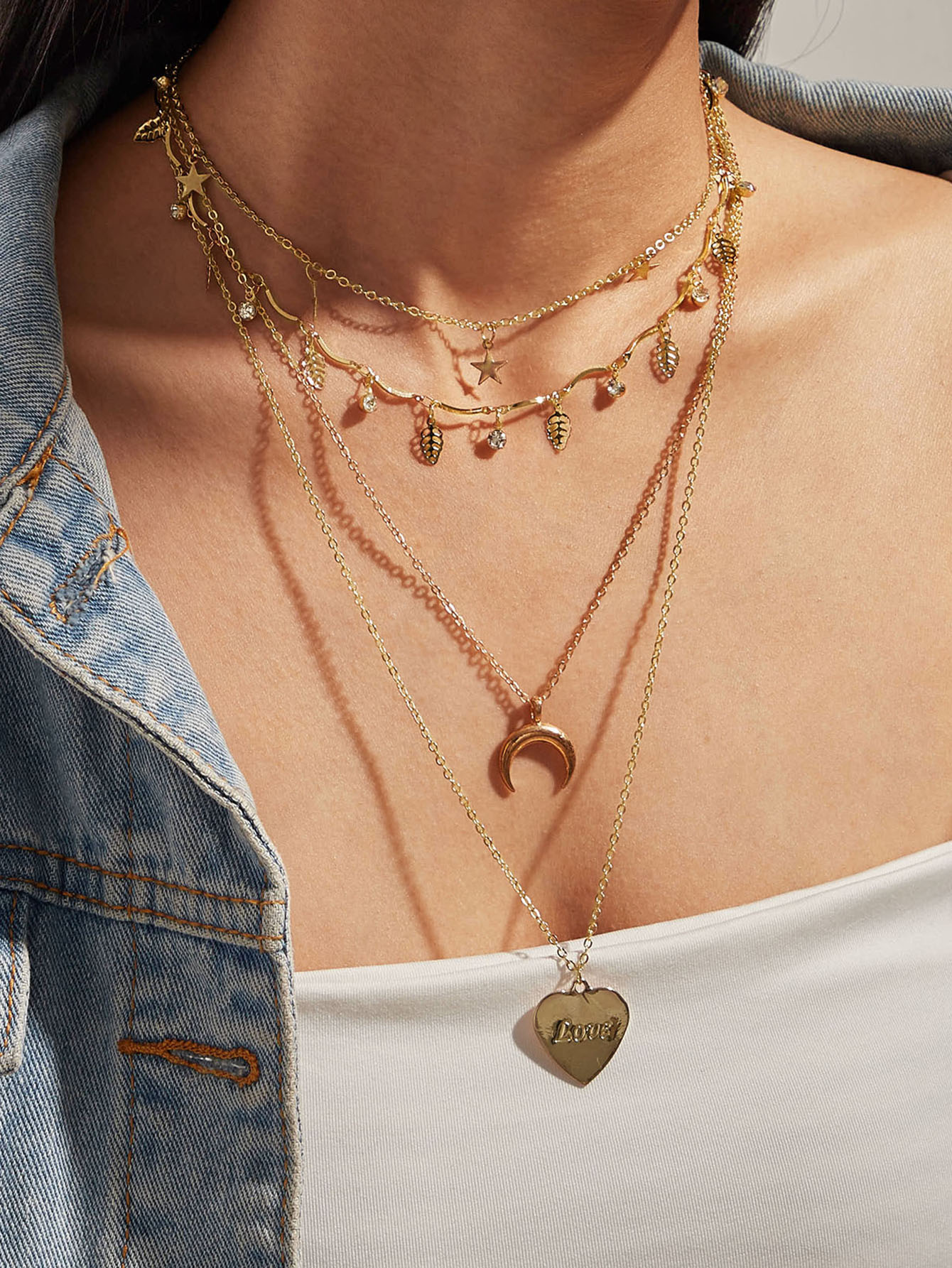 1pc Star & Heart Charm Layered Necklace thumbnail