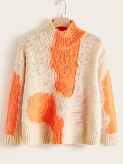 Plus Colorblock Turtleneck Drop Shoulder Sweater