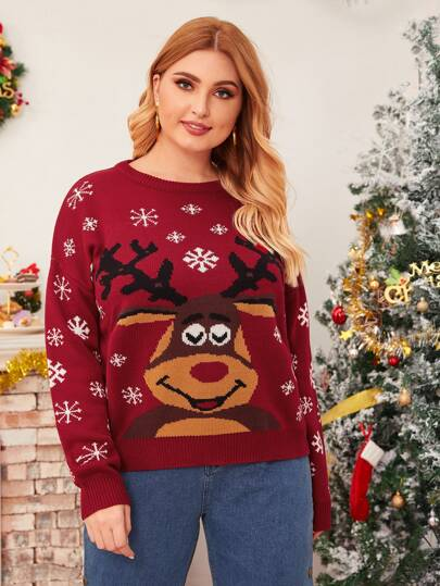 Plus Christmas New Year Deer & Snowflakes Print Sweater