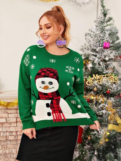 Plus Christmas New Year Snowman Print Drop Shoulder Sweater