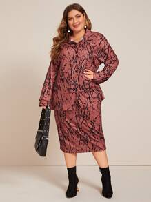 Plus Graphic Print Pocket Patched Blouse & Skirt Set