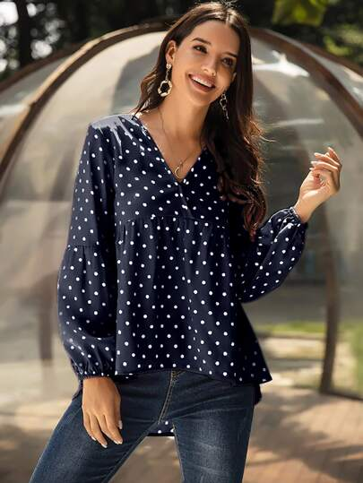 Polka Dot V Neck High Low Smock Blouse