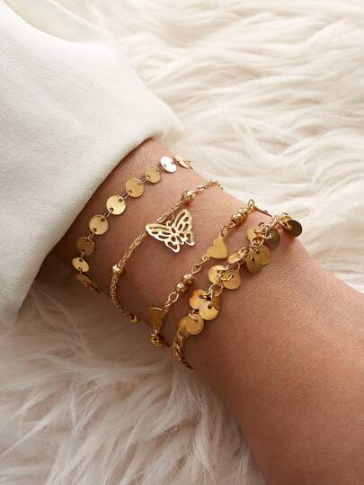 4pcs Disc & Butterfly Decor Bracelet Set