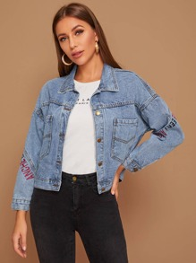 Letter Embroidered Washed Denim Jacket