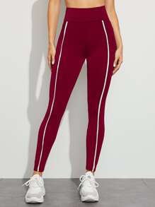 Contrast Tape Wide Waistband Skinny Leggings