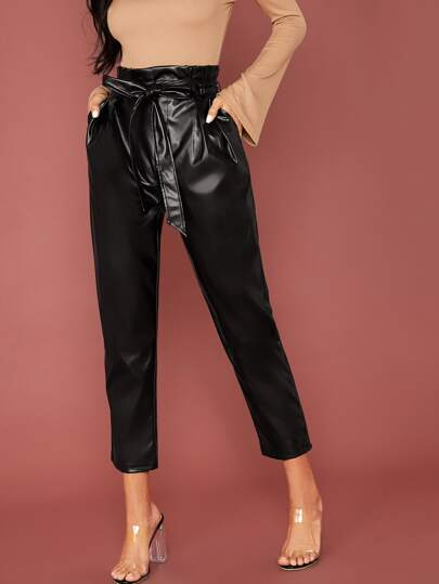 Paperbag Waist Belted PU Leather Cropped Pants