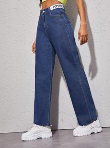 Letter Tape Raw Hem Straight Jeans