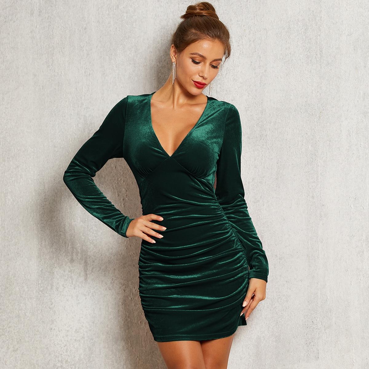 облегающее бархатое платье со складкой SheIn swdress42191023076