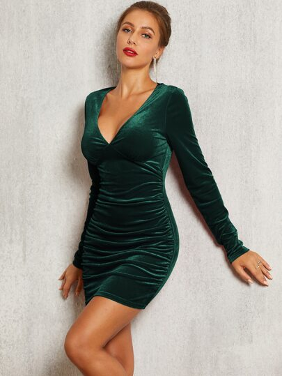 SBetro Ruched Bodycon Velvet Dress