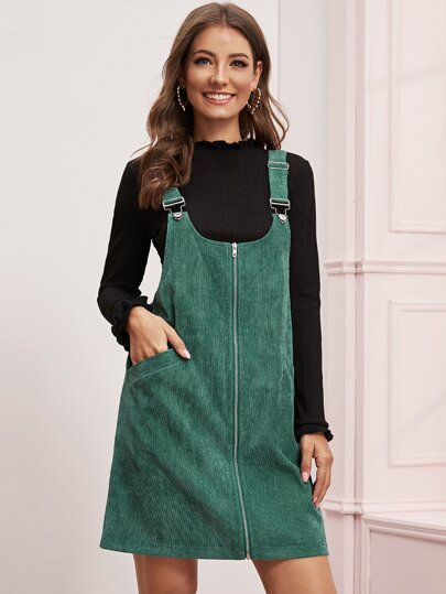 Zipper Front Corduroy Pinafore Dress