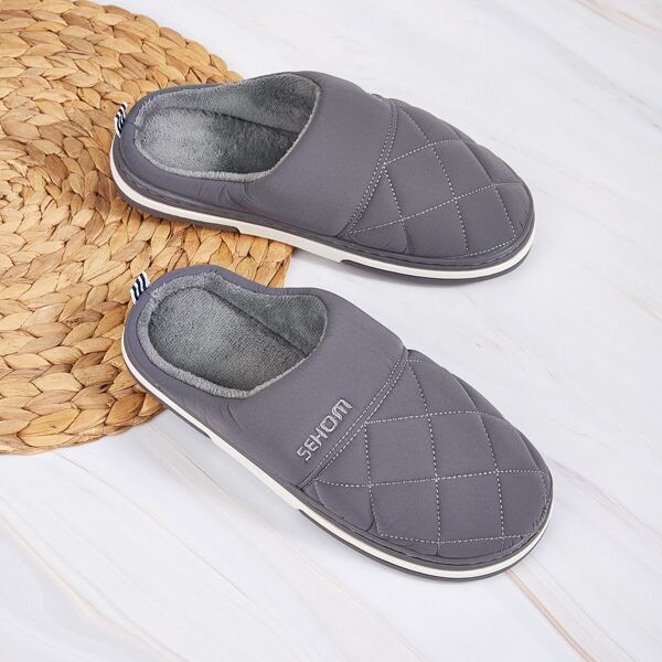 Men Quilted Fur Lined Slippers, Grey