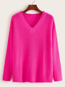 Neon pink V-Neck Ribbed Knit Sweater