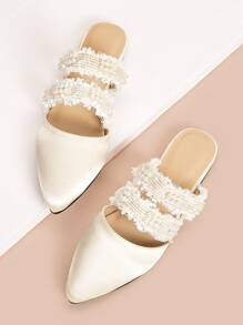Faux Pears & Raw Trim Twin Band Flat Mules