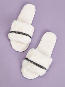Metal Decor Fluffy Open Toe Slippers