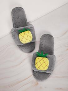 Pineapple Decor Fluffy Open Toe Slippers